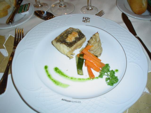 Sea bass fillet stuffed with king prawn mousse